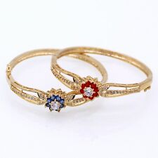 New Pretty Bracelet Red / Blue Crystal Flower 18K GP Women Fashion Zircon Bangle
