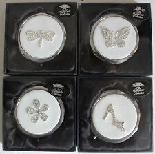 Diamante Silver Plated Compact Mirror - Shoe, Flower, Butterfly or Dragonfly