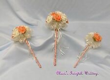 WEDDING FLOWERS APRICOT PEACH BRIDESMAID FLOWER GIRL BOUQUET WAND PACKAGE ROSES