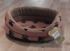 Pet Bed Oval Chocolate Large Paw print oval cat dog pet bed faux fur extra warm