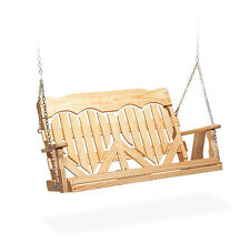 Amish Handcrafted Porch Swing High Back Heart Pressure Treated Kiln Dried Wood