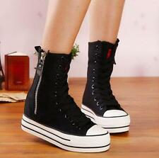 Womens Platform Boots Zip Plimsolls High Top board Sneakers Canvas hiking Shoes