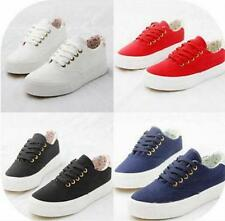 Tennis Low Top Plimsoll Womens Canvas Lace Up flat board Sneakers preppy Shoes