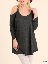 Womens Plus Size Tunic Cold Cut Out Open Sleeve Top Long Loose Umgee  XL-1X-2X
