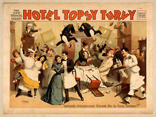 Photo Print Vintage Poster: Stage Drama Flyer Theatre Show Hotel Topsy Turvy 1