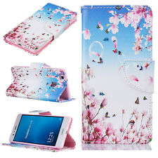 Butterfly pink flower PU Leather Flip Stand Card Wallet Case Cover For Phones