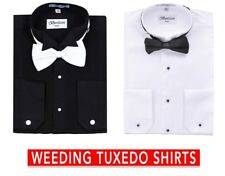Men's Tuxedo Laydown Or Wing Tip Collar W/ Bow-tie Dress Shirt By Berlioni