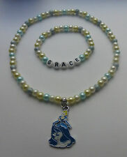 Personalised Disney Princess & Frozen Inspired Necklace and Bracelet Set.