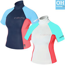 Short Sleeve C-Skins Ladies Rash Vest Guard Womens UPF 50+ Turtleneck Surf Kayak