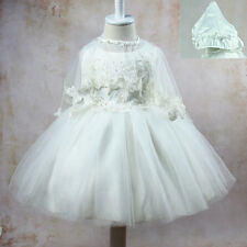Baby Newborn Girls Flower Party Baptism Christening Occasion Dress Gown Cape Hat