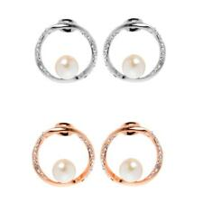 Fashion Women Rose Gold Silver Circle Ear Stud Earrings With White Pearl