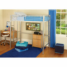 Loft Bed Frame Twin Size Bed Metal For Child Black and Silver Color New!