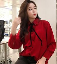 3 Color Spring Women Korean Sweet Long Sleeve Fashion Chiffon Slim Shirt Tops
