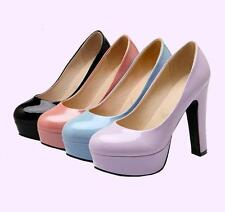 Classic Womens chunky Heels Platform Patent Leather OL Party Shoes Pumps US Size