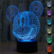 3D LED Mouse bulbing illusion Bedroom night Desk Light Lamp 7color Disney-Mickey