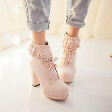 Sweet girl Womens Lolita Lace Up Zip Block High chunky Heels Ankle Boots Shoes