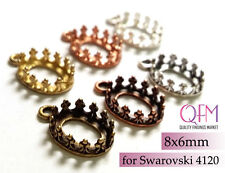15pcs Oval Crown Bezel Cup 8x6mm Brass with 1loop Brass, Copper, Silver plated