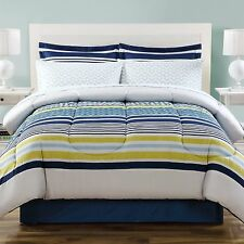 Modern Striped Blue White Yellow 6-PC Comforter w/sheets Twin Full Queen King
