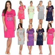 Ladies Short Sleeve Slogan  Nightdress Cotton Jersey Nightie Night Shirt 8-22