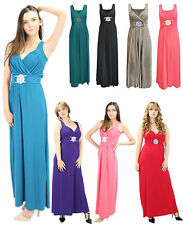NEW LADIES WOMEN LONG PROM FORMAL BUCKLE MAXI EVENING DRESS PLUS SIZE 8-26