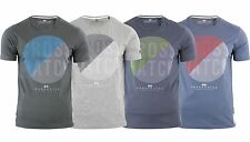 Mens CROSSHATCH Retro Disc Print Crew Neck T-Shirt S-2XL Slim Top Brushed Cotton