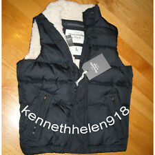 NWT ABERCROMBIE & FITCH MENS VEST FUR JACKET NAVY SIZE LARGE A&F