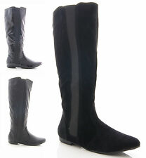 NEW LADIES WOMENS FLAT STRETCH FAUX LEATHER KNEE HIGH BOOTS SHOES SIZE 3 4 5 6 7