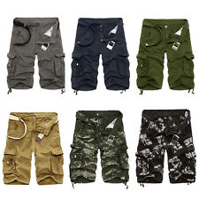 Mens Casual Slim Cotton Army Cargo Shorts Short Pants Work Camo Pant Size 29-40
