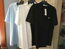 NWT NEW MENS SZ 3XL SLIM FIT LACOSTE POLO SHIRTS IN WHITE, BLACK OR LIGHT BLUE