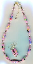Vintage Venetian Murano Millefiori & Swarovski Necklace w/Earrings, 4 col N1406
