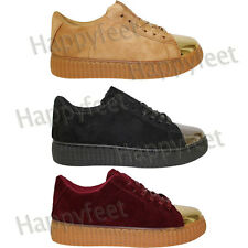 Ladies Fenty Chunky Platform Suede Lace Up Creepers Trainers Plimsolls PU Shoes