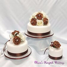 WEDDING FLOWERS CAKE TOPPER FLOWERS DECORATION PACKAGE CHOCOLATE BROWN FOAM ROSE