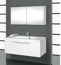 Bathroom Glass White Mirror cabinet Wall Vanity Unit With Basin Sink 1050mm