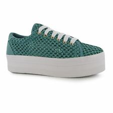 Jeffrey Campbell Play Mesh Platform Shoes Womens Green Fashion Trainers Sneakers