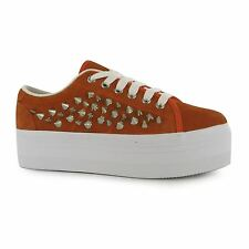 Jeffrey Campbell Play zOMG Platform Shoes Womens Orange/Silver Trainers Sneakers