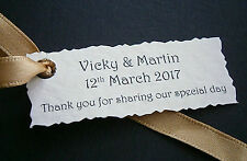 1-50 Personalised Wedding Favour Gift Tags -White, Ivory - Any Personalised Text
