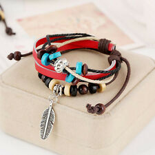 New Fashion Women's Braided Genuine Leather Cuff Bangle Bracelet Wristband