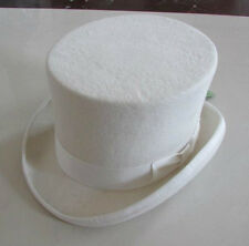 """Wedding High Top Hat/Wool Felt Cylinder Hat/ Stove pipe Hat /Topper 5.3"""" White"""