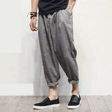 Mens Loose Hip hop Street harem pants Casual loose Pants Linen Cropped Sz breath