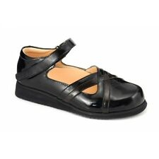 Mt. Emey Therapeutic Comfort Diabetic Extra Wide Womens Black Leather Shoes 9203