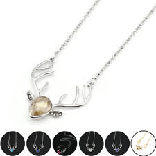 Women's Fashion Jewelry Charm Crystal Deer Pendant Cute Animal Necklace Gift 5V9
