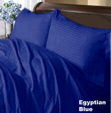 US CAL KING EGYPTIAN BLUE STRIPE 1000TC 100%EGYPTIAN COTTON US SHEET SET