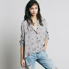 Women New Fashion Long Sleeve Loose Print Chiffon Casual Blouses Shirt