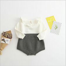 Baby Girls jumpsuits Ruffles Girl Sweet Knitted Overalls Infant Rompers 9S5