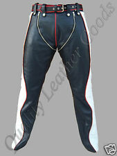 MENS SYNTHETIC LEATHER JEANS PANT TROUSER BIKER GAY RED BLACK & WHITE CHAPS