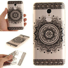 Black Mandala Flower PatternTPU Soft Silicon Rubber Case Cover For Various Phone