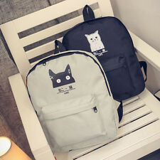 Women Cat Canvas Backpack Bag Girl School Bookbag Casual Travel ShoulderBag CHCA
