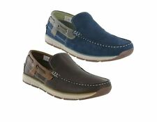 Roamers Moccasin Boat Shoes Leather Lined Lightweight Slip On Leisure Mens