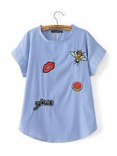 Women Striped Shirts Cute Bee Lip Embroidery Letters Short Sleeve Loose Blouse