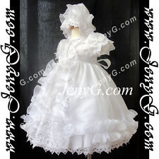 CW6 Baby Girl Christening Baptism First Holy Communion Formal Gown Dress Bonnet